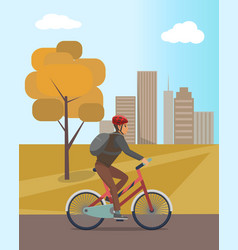 Autumn city park and guy in helmet riding bicycle vector