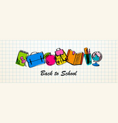 back to school sale horizontal banner vector image