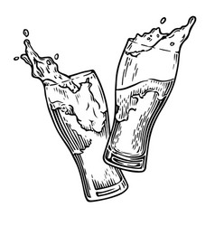 Beer splash engraving vector