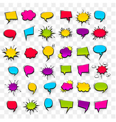 big set hand drawn effects comic speech bubbles vector image