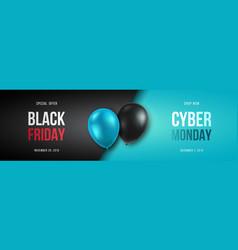 black friday and cyber monday banner long narrow vector image