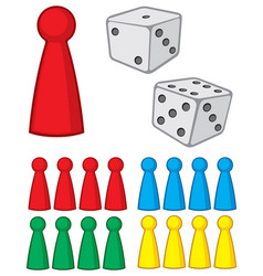 Board game figures with dices vector