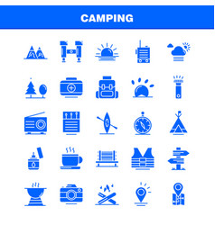 Camping solid glyph icons set for infographics vector