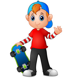 cartoon boy holding skateboard vector image