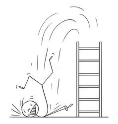 Cartoon man or businessman falling hard from vector