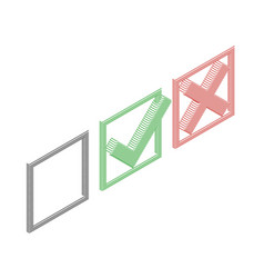Checkmark icons lines tick and cross sign vector