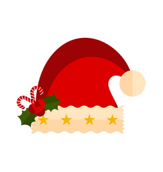 christmas hat with canes and holly leaves icon vector image