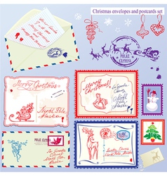 Collection of Christmas envelops postcards stamps vector image