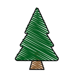 Color crayon stripe cartoon pine tree vector
