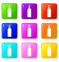 Cosmetic bottle set 9 vector