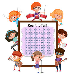 Counting number 1-100 board with many children vector