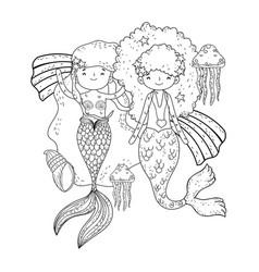 Couple mermaids with rainbow undersea vector