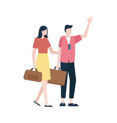 couple with handbags man and woman travel vector image