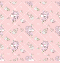 cute unicorn and cupcake vector image