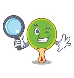 Detective ping pong racket character cartoon vector