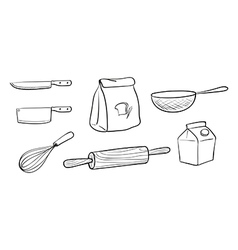 Different kinds of baking tools vector image