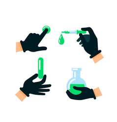 doctor or scientist hands in latex gloves nuclear vector image