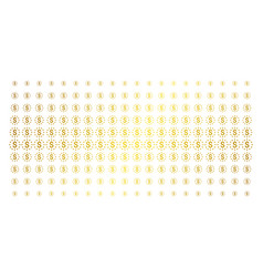 dollar stars golden halftone effect vector image