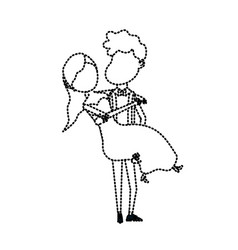 dotted shape happy couple married and man carrying vector image