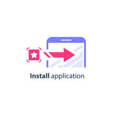 Download and install application on smartphone vector