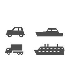 flat map signs land and water transport isolated vector image