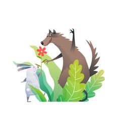Forest animals nursery birthday art rabbit vector