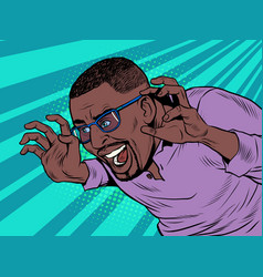 Funny black african american man scares pose vector