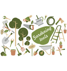 garden tools icons vector image
