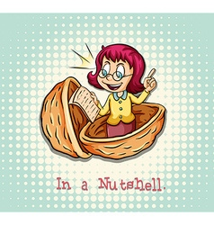 Girl in a nutshell idiom vector