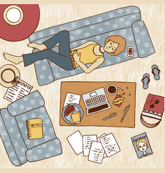 Girl taking a nap on couch vector
