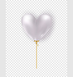 glossy white air balloon in heart form of vector image