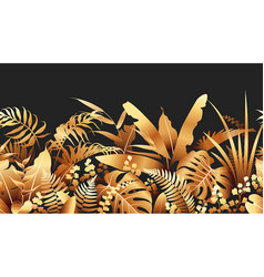golden tropical plants seamless border vector image