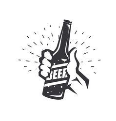 hand holding beer bottle stylized symbol vector image