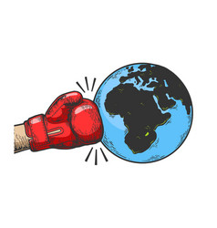 Hand in boxing glove hits earth sketch engraving vector