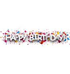 Happy birthday paper banner vector image