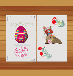 happy easter egg rabbit invitation florals vector image