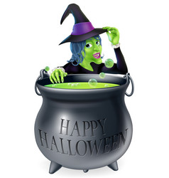 happy halloween witch and cauldron vector image