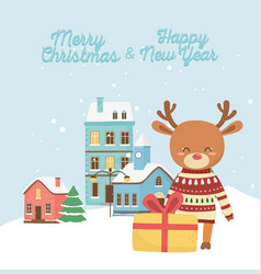 happy new year 2020 merry christmas reindeer with vector image