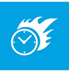 Hot clock white icon vector image