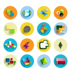 Infographic inside colorful circles Flat icon set vector image