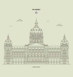 Iowa state capitol in des moines usa landmark vector