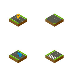 Isometric road set of plash navigation vector