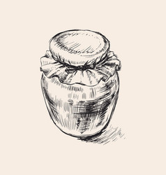 jar hand drawing glass jar of vector image