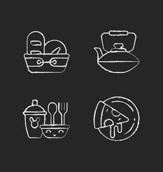Kitcken dinnerware chalk white icons set on dark vector