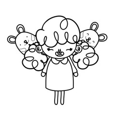 Line happy girl child with mice animals vector