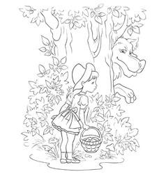 Little red riding hood and wolf colouring page vector
