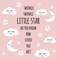 little star greeting card for bashower nursery vector image