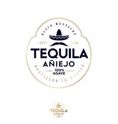 Logo label tequila mustache mexican hat sombrero vector