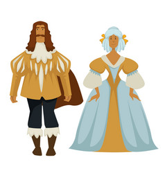 man and woman in baroque outfit ball gown and vector image