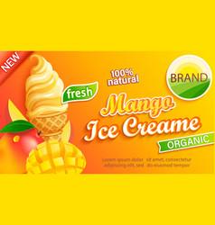 mango ice cream label emblem sticker vector image